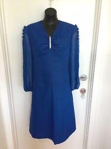 Vintage Cobalt Blue Diamonte Detailed Party Dress - Size 16/18