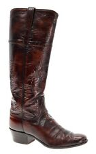 LUCCHESE Cowboy Boots 9 B Womens OXBLOOD Rodeo Vintage Knee High Western Boots