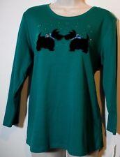ALLISON DALEY Green Tartan Black Scottish Terrier 3/4 Sleeve Knit Top M NEW! $38