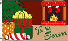 TIS THE SEASON FIREPLACE 3x5ft Flag holiday presents