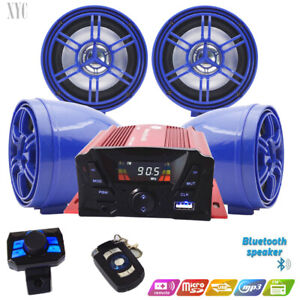 Motorcycle ATV Anti~Theft Speakers USB Audio System Stereo Bluetooth Remote Blue