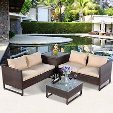 4PCS Brown Rattan Wicker Patio Sofa Cushion Seat Set Furniture Lawn Outdoor