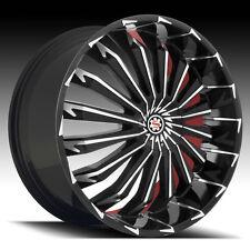 26 X 9.5 Inch Wheels Rims Scarlet SW5 Black machine Fit 5 X 115
