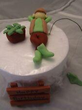 Snoozing  Fisherman  Edible fishing Birthday Cake Topper figure,dad,son,