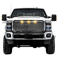 11-16 Ford Super Duty Raptor Chrome Front Hood Mesh Grille+Shell+Amber 3x LED
