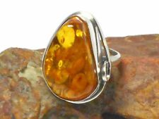 Cognac  AMBER  Sterling  Silver  925  Gemstone  RING  -  Size: Q