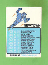 1981 NEWTOWN JETS   SCANLENS RUGBY LEAGUE CHECKLIST CARD, UNCHECKED