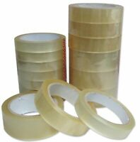 """CLEAR STRONG TAPE PACKAGING ROLLS PARCEL PACKING SELLOTAPE 1"""" 24mm x66m CELOTAPE"""