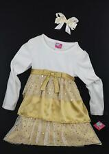 What a Doll Holiday Party Dress W Golden Dots & Hair Acc 2 Pieces Set Size 6/6 X