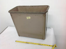 Vintage Steelcase BEIGE Square Metal Industrial Factory Trash Waste Can. lot#16