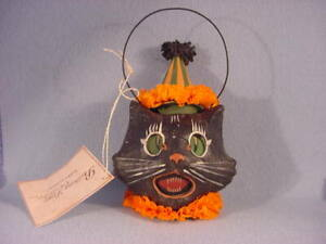 Bethany Lowe Halloween Sassy Cat Black Cat LARGE Bucket  Vintage Reproduction