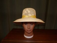 Vintage Ladies Civil War Reenactor Fashionable Straw Hat with Ribbon