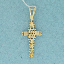 Small Chain Link Religious Cross Pendant 14k Solid Yellow Gold Wavy Movable