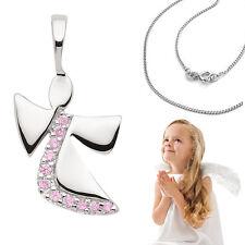 Mädchen Schutz Engel Anhänger mit pinken Zirkonia Steinen und Kette Silber 925