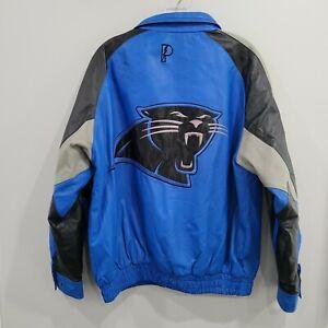Vintage Pro Player NFL Carolina Panthers 75th Black Leather Jacket Mens M