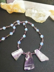 Necklace with Triple Amethyst Pendants Amethyst  Moonstone Mothers Day Ideal