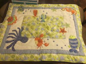 Lambs & Ivy Baby Blanket Crib Quilt Comforter crap fish ocean  Green Textured