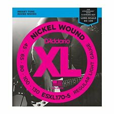 D'Addario Nickel Wound Bass Guitar 5-Strings, Light, 45-130, Double Ball End
