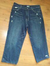 "Enyce Mens Designer Jeans Size 38 Blue Denim Pants Inseam 28.5"" DISTRESSED Short"