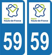 Département 59 -2 autocollants style immatriculation AUTO PLAQUE HAUTS DE FRANCE