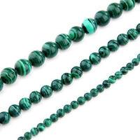 3X Strang 4/6/8mm Malachit Perlen rund Edelstein Stein