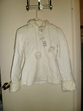 New w/ tags Bebe Sport White Quilted Jacket w/ 100% Natural Rabbit Fur Size XS