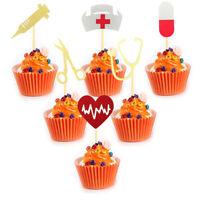 36 Pcs/set Doctor Nurse Theme Nursing Hat Syringe Pills Cupcake Toppers Cake.ft