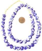 10mm Made in Ghana Blue multi Krobo recycled Glass African trade Beads-Ghana