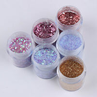 6Boxes/Set 10ml Nail Art Sequins Glitter Powder Sheets Tips Manicure Decor DIY