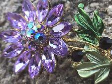 Flower Leaf Enamel Rhinestone Brooch Purple Green Gold Tone Pin Fashion Jewelry