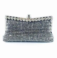USA WOMENS Evening HANDBAG Clutch Purse RHINESTONE CRYSTAL Wedding Clear Black 0