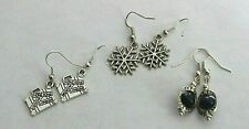 Lot of 3 sets of Earring Snow Flake, Travel Case.  Blue Bead Motif