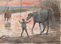 RICHARD HENRY BROCK 1871-1943 Watercolour Painting CHILDREN WITH HORSES WATERING