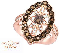 Brandy Diamond® Chocolate Brown 10K Rose Gold Marquise Design Unique Bridal Ring