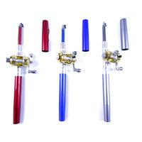 Mini Portable Pocket Pen Shape Aluminum Alloy Fishing Rod Pole Reel Ice Fishing