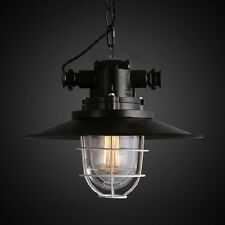 Industrial Glass Lampshade Pendant Light Vintage Black Metal Cage Ceiling Lights