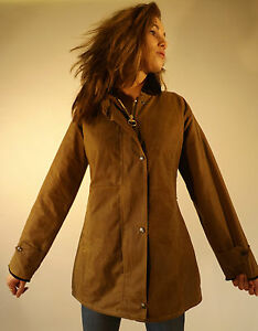 Wax Jacket New Women's Made In England Fitted Coat Jacket Tan XS S M L XL