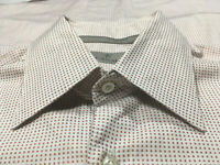 Canali Eggshell & Orange Micro Square Cotton Spread Button Up Shirt Sz L