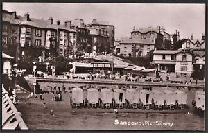 ISLE OF WIGHT postcard Sandown Pier Slipway r.p. Bathing machines