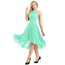 Pretty Bridal Womens High Low Short Bridesmaid Dresses Chiffon Halter Prom Dress
