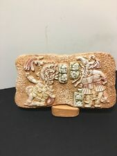Renato Dorfman Mexican Mayan Ballplayers Plaque Art Tile #0237 With Stand mint