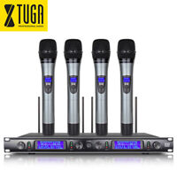 XTUGA EW240 UHF Wireless Microphone System 4 Channel Metal Cordless Handheld Mic