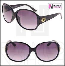 GUCCI 3623 Leather Shiny Black Gold Strass Gold Oval Sunglasses GG3623NKS