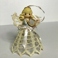 Precious Moments 2004 Crochet Starched Angel with Harp Christmas Ornament