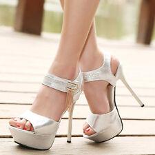 Silver Rhinestones Open toe Heels Prom Wedding Platform Women's shoes US sz.8.5