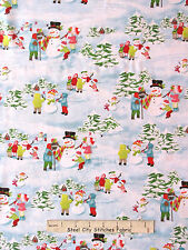 Christmas Fabric - Snowman Children Snow Scenic HG&Co 9815 Frosty Flakes  - YARD