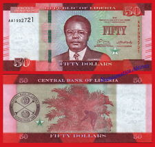 LIBERIA 50  dollars dolares 2016 (2017) Pick NEW Serial AA SC / UNC