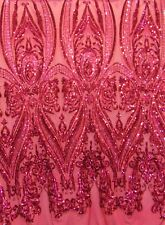"Tulip Fuchsia, Big Print Victorian Sequin, 4-way Stretch Fabric 55"" dress"