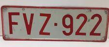Vintage Belgium License Plate Red & White