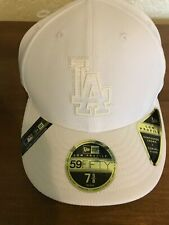 New Era Low Profile 59Fifty MLB LA Dodgers White/White Cap Curved Visor Sz 7 5/8